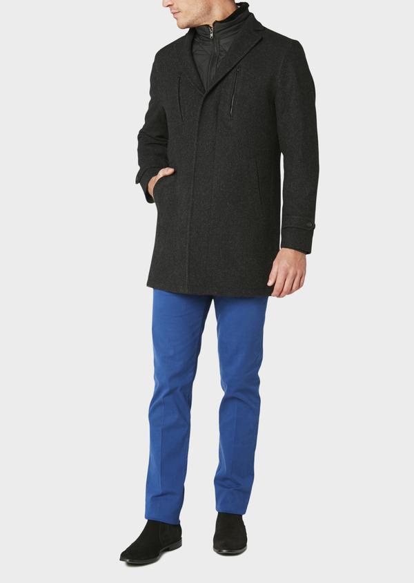 Manteau en laine mélangée façonnée à motif fantaisie gris anthracite chiné - Father and Sons 30681