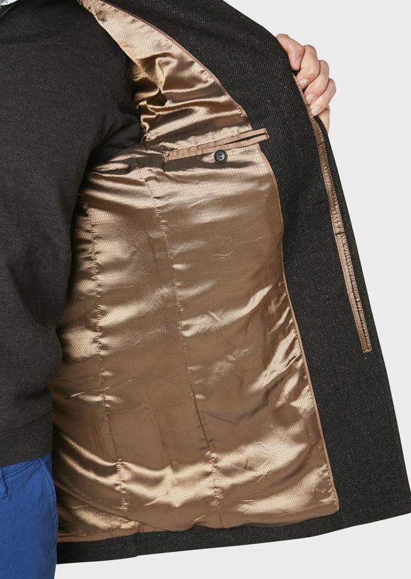 Manteau en laine mélangée façonnée à motif fantaisie gris anthracite chiné - Father and Sons 30684