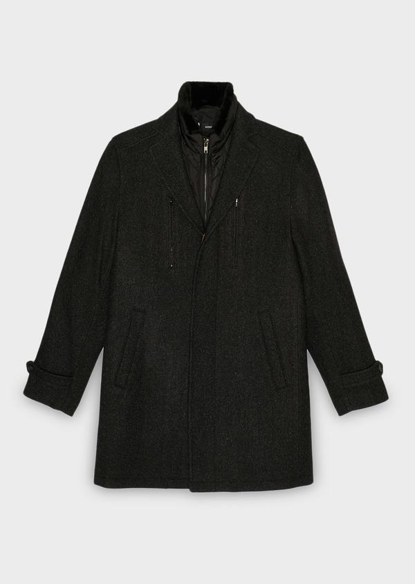 Manteau en laine mélangée façonnée à motif fantaisie gris anthracite chiné - Father and Sons 30679