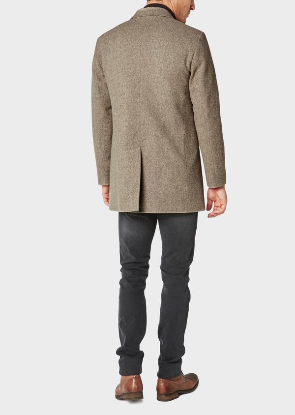 Manteau en laine uni beige foncé - Father and Sons 31089