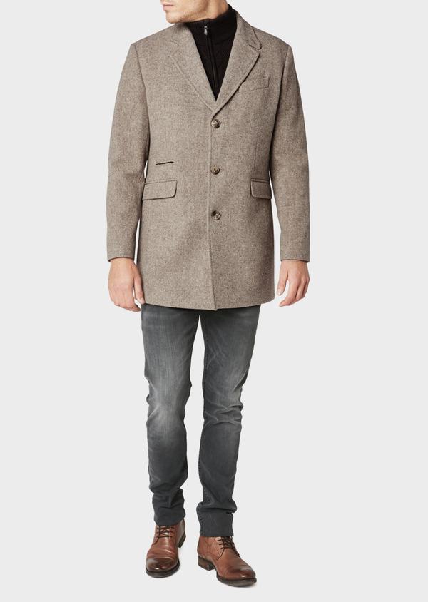 Manteau en laine uni beige foncé - Father and Sons 31088