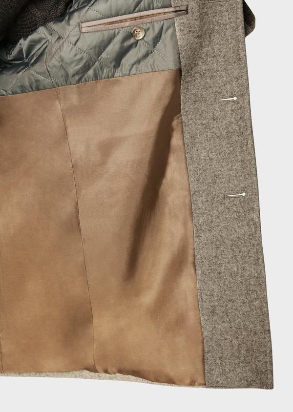 Manteau en laine uni beige foncé - Father and Sons 31091