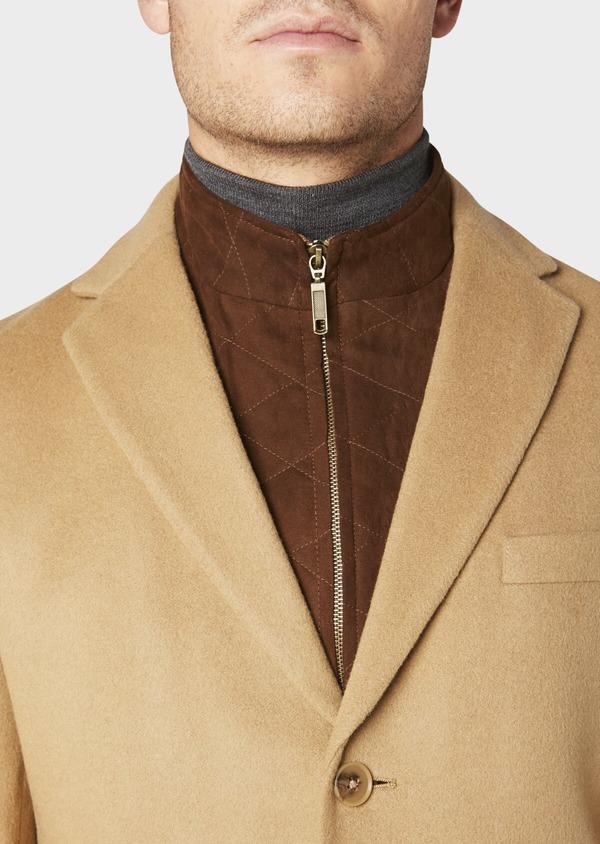 Manteau en laine mélangée unie camel - Father and Sons 30693