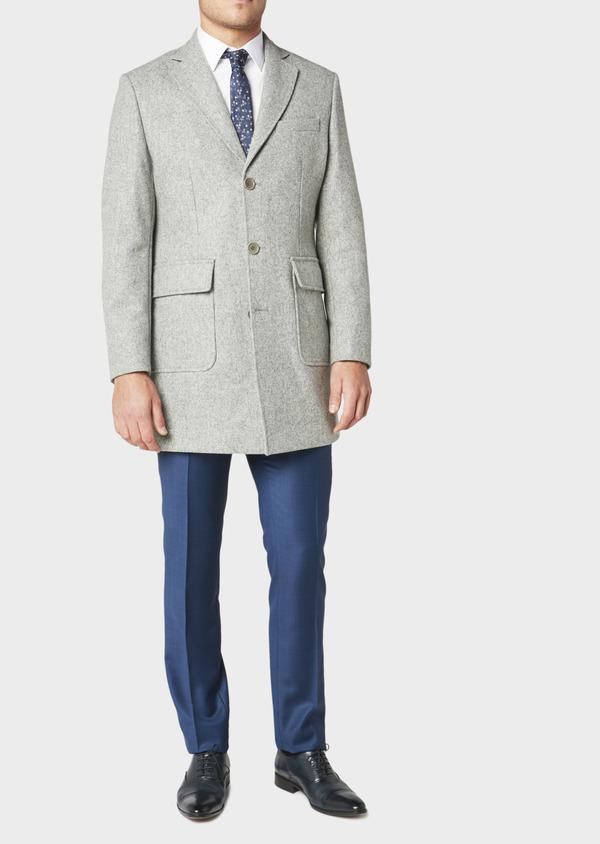 Manteau en laine mélangée unie gris perle - Father and Sons 31235