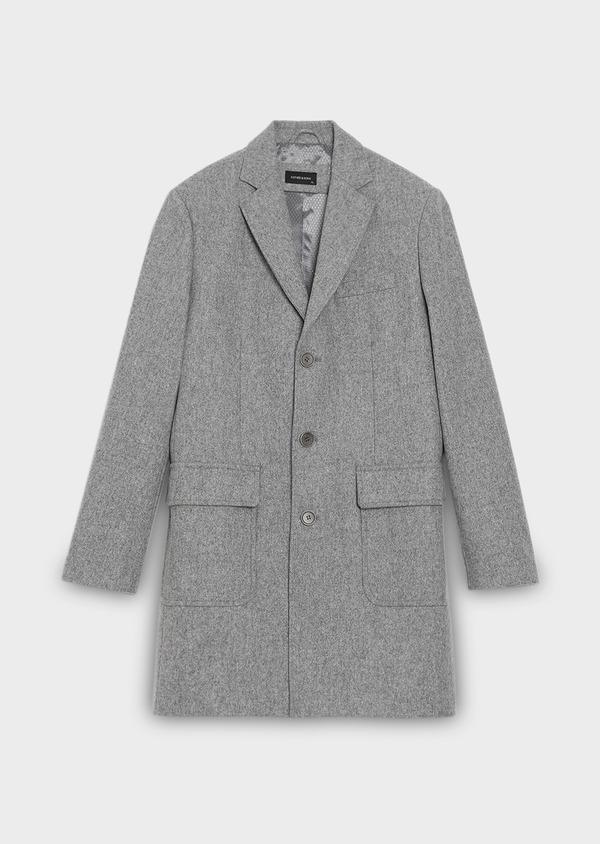Manteau en laine mélangée unie gris perle - Father and Sons 31233