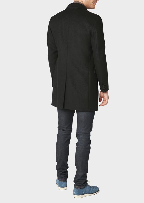 Manteau long en laine mélangée unie noir - Father and Sons 30711