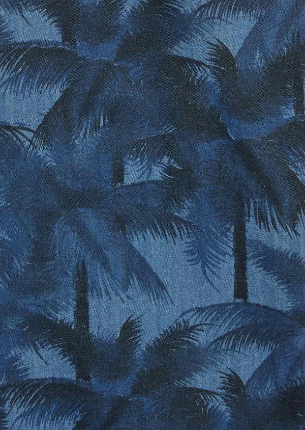 Bermuda slack en coton stretch bleu indigo à motifs feuilles de palmier - Father and Sons 39783