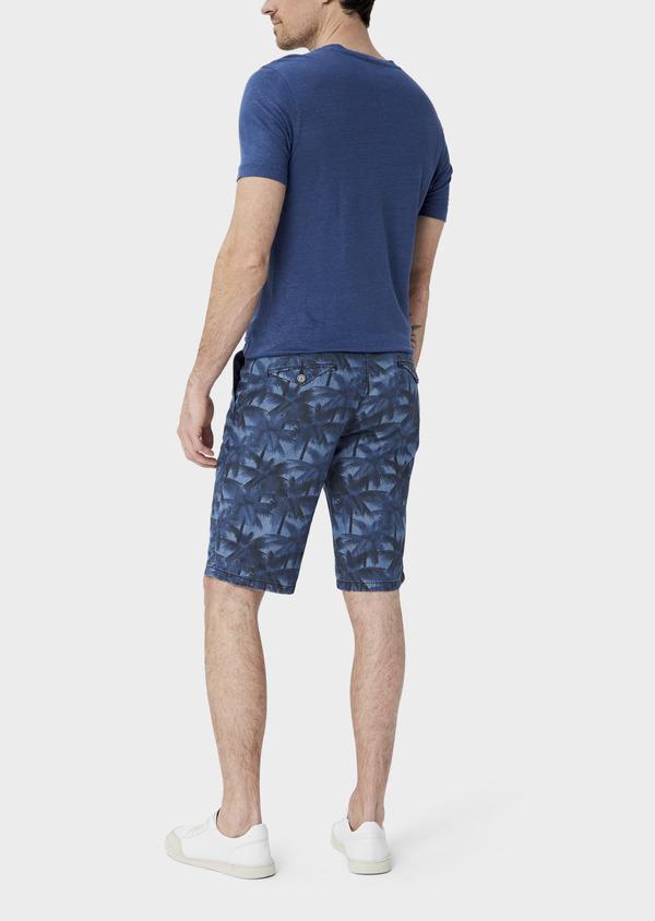 Bermuda slack en coton stretch bleu indigo à motifs feuilles de palmier - Father and Sons 39785