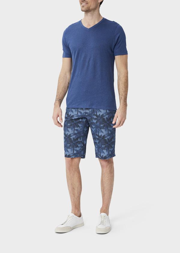 Bermuda slack en coton stretch bleu indigo à motifs feuilles de palmier - Father and Sons 39784