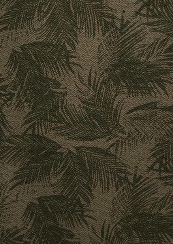 Bermuda en coton mélangé vert kaki à motifs feuilles de palmier - Father and Sons 40029