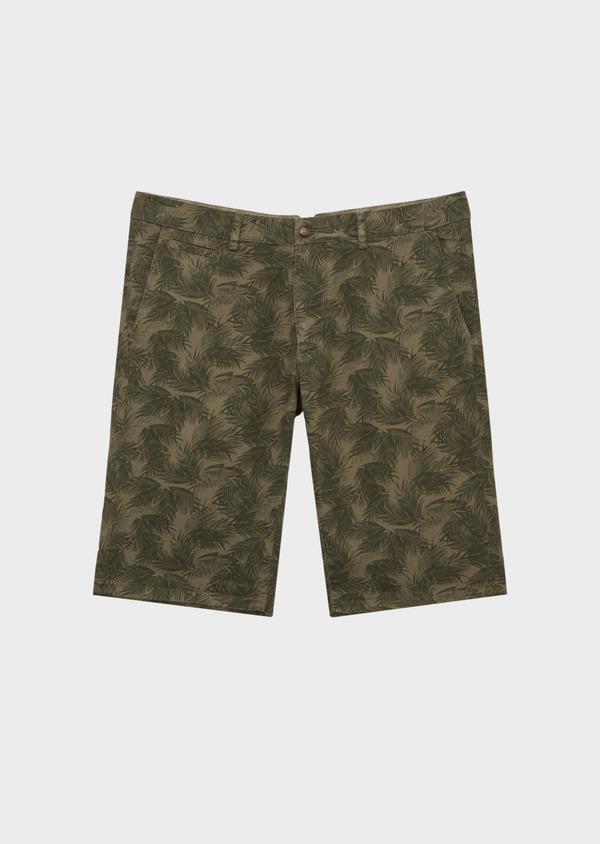 Bermuda en coton mélangé vert kaki à motifs feuilles de palmier - Father and Sons 40028