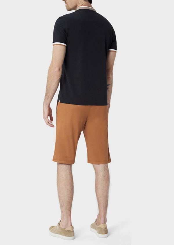 Bermuda slack en coton stretch marron à motifs géométriques - Father and Sons 40035