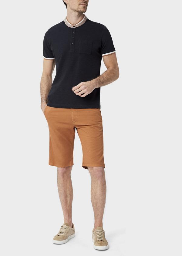 Bermuda slack en coton stretch marron à motifs géométriques - Father and Sons 40034