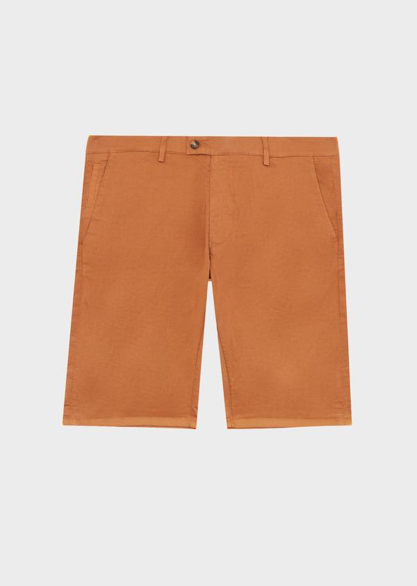 Bermuda slack en coton stretch marron à motifs géométriques - Father and Sons 40032