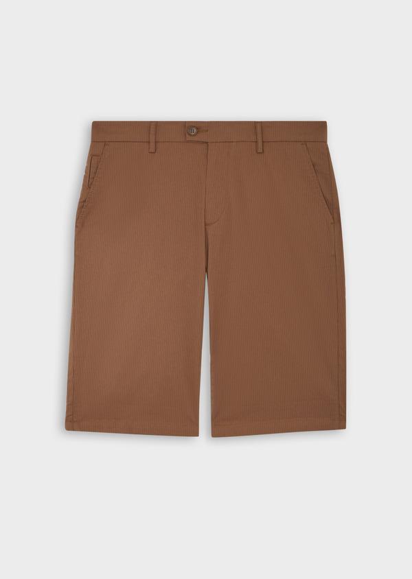 Bermuda slack en coton stretch marron à rayures - Father and Sons 39790