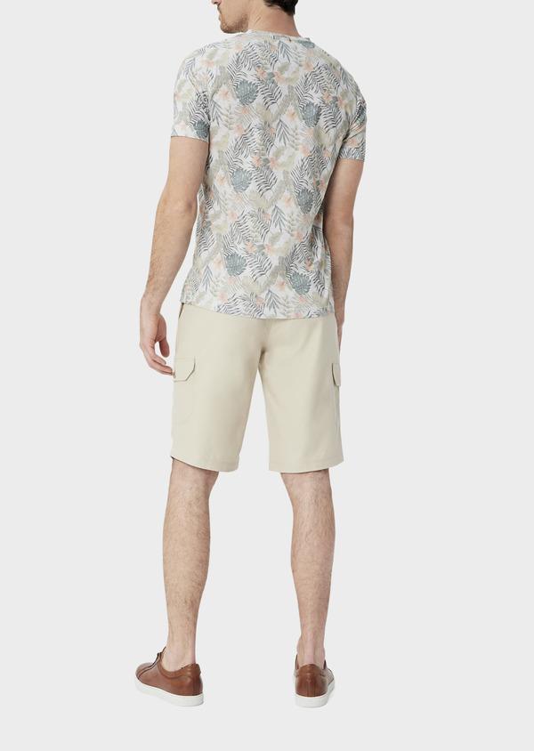 Bermuda cargo en tencel et coton uni beige - Father and Sons 39789