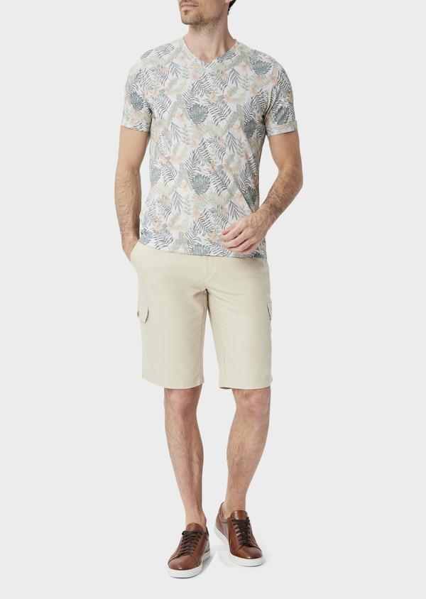Bermuda cargo en tencel et coton uni beige - Father and Sons 39788