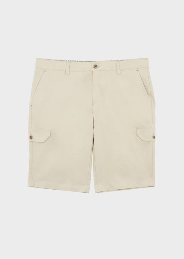 Bermuda cargo en tencel et coton uni beige - Father and Sons 39786