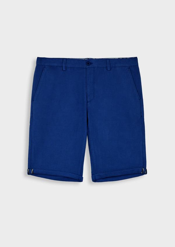 Bermuda slack en coton et lin bleu - Father and Sons 40167