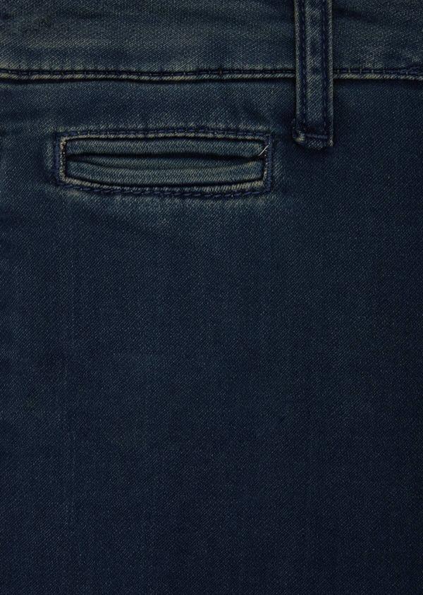 Bermuda jean en coton stretch uni bleu - Father and Sons 40611