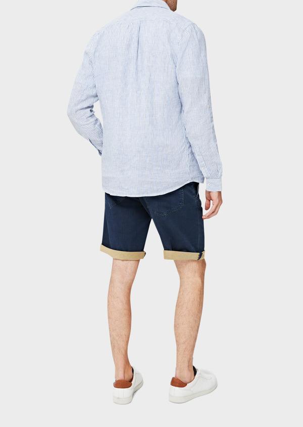Bermuda jean en coton stretch uni bleu - Father and Sons 40613