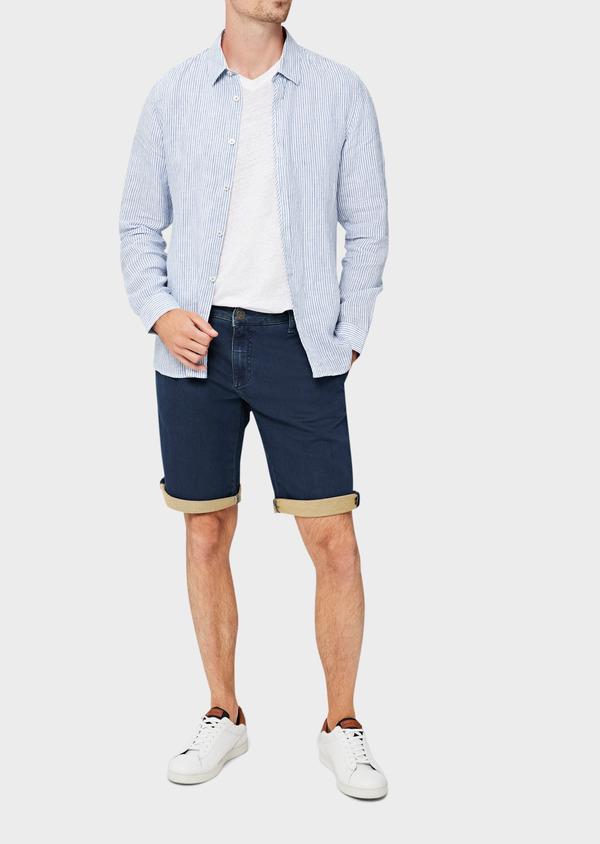 Bermuda jean en coton stretch uni bleu - Father and Sons 40612