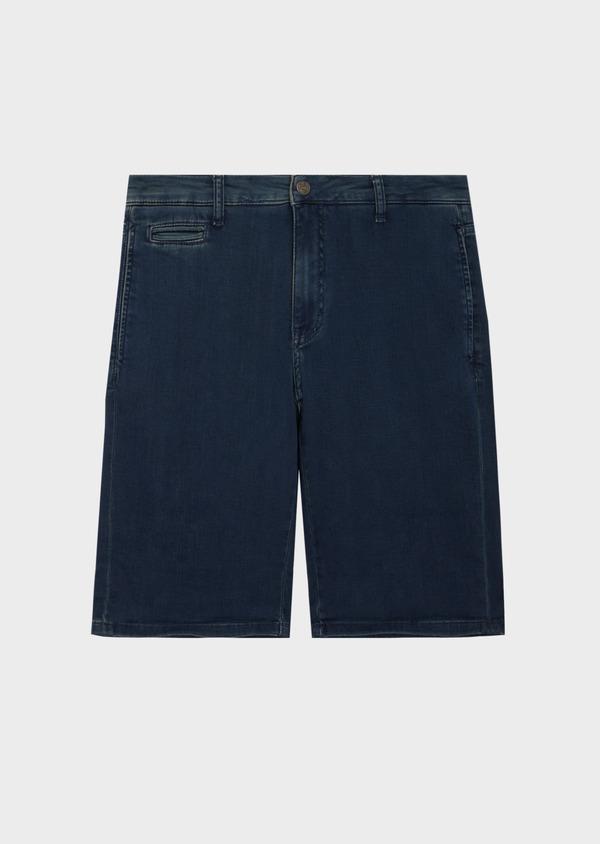 Bermuda jean en coton stretch uni bleu - Father and Sons 40610