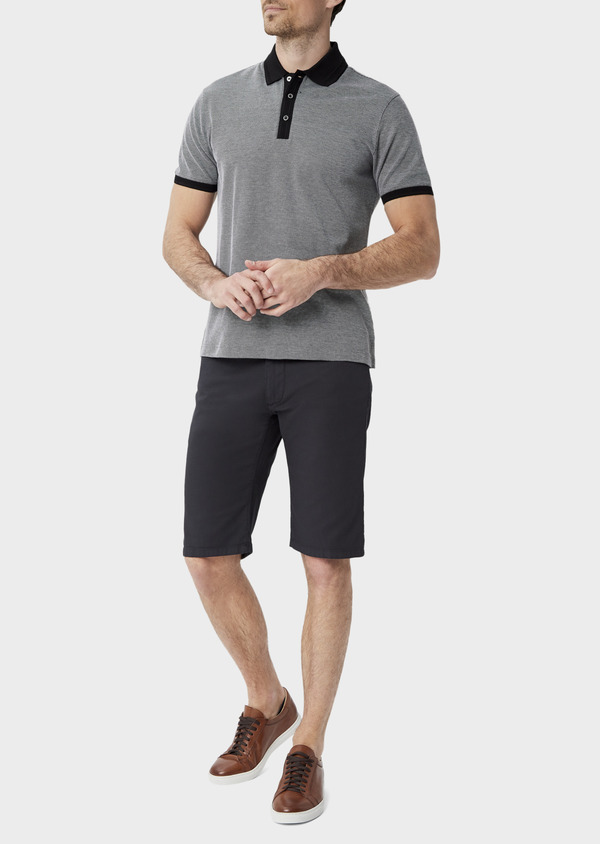Bermuda en coton stretch uni gris anthracite - Father and Sons 39800