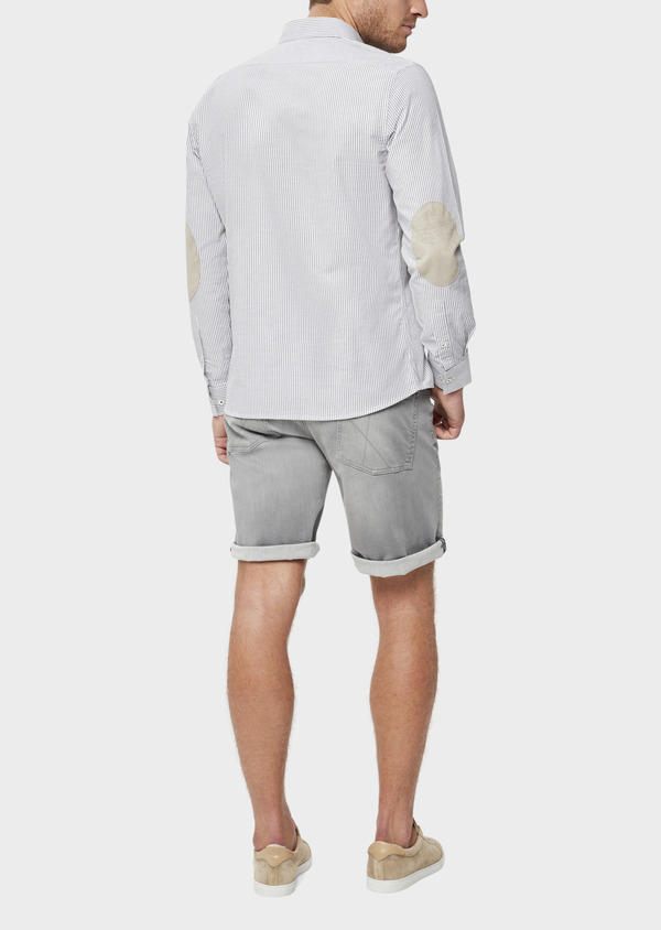 Bermuda jean en coton stretch uni gris - Father and Sons 38501