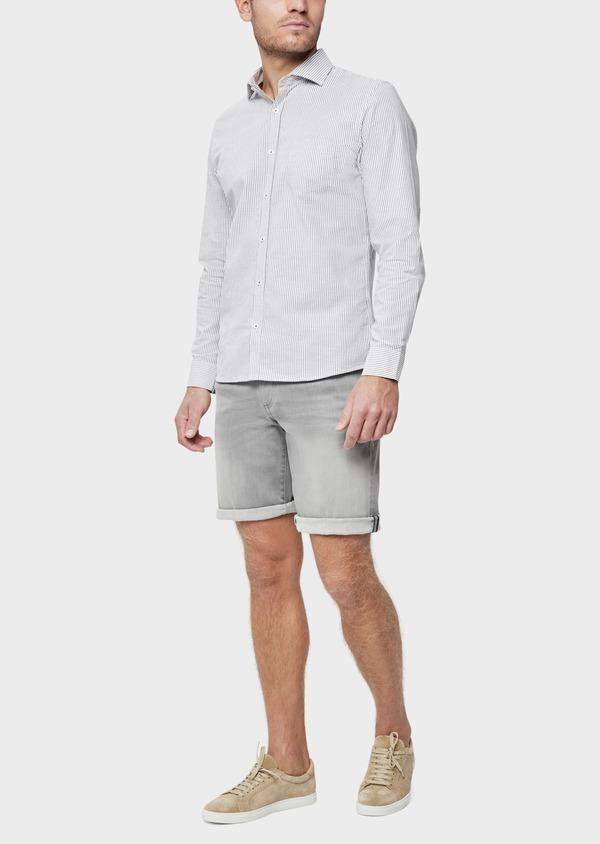 Bermuda jean en coton stretch uni gris - Father and Sons 38500
