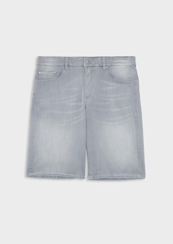 Bermuda jean en coton stretch uni gris - Father and Sons 38498