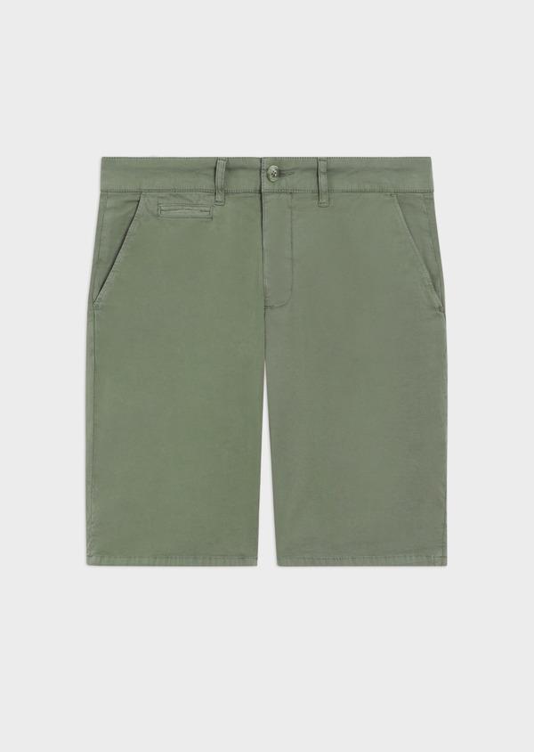 Bermuda en coton stretch uni vert kaki - Father and Sons 40647