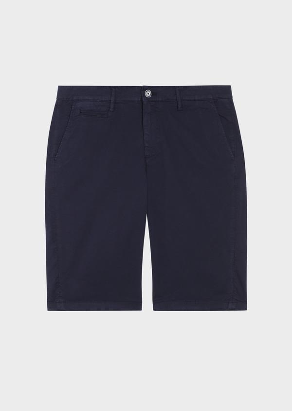 Bermuda en coton stretch uni bleu marine - Father and Sons 34590