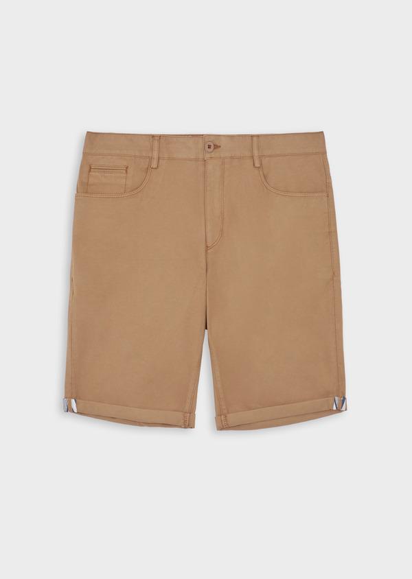 Bermuda en coton stretch uni camel - Father and Sons 38492