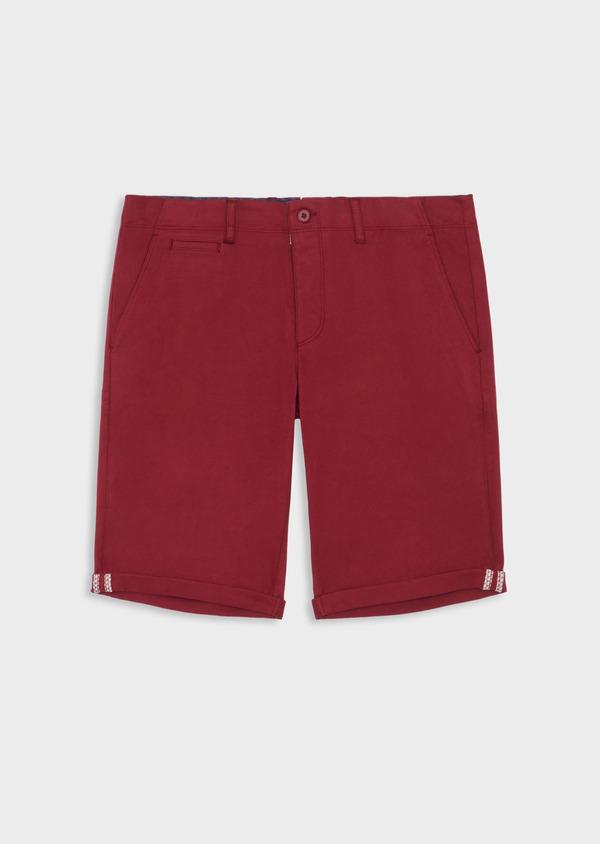Bermuda en coton stretch uni bordeaux - Father and Sons 39350