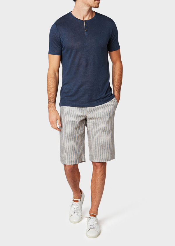 Bermuda en lin beige à rayures bleu et rouge - Father and Sons 33768