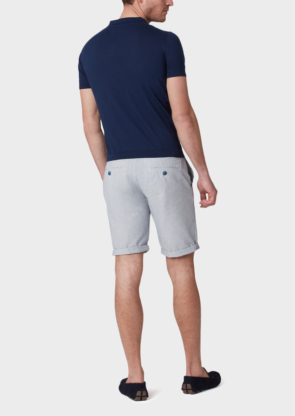 Bermuda coordonnable en coton stretch à rayures bleues - Father and Sons 33761