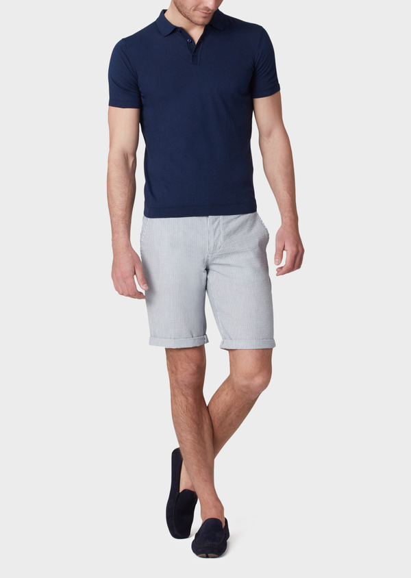 Bermuda coordonnable en coton stretch à rayures bleues - Father and Sons 33760