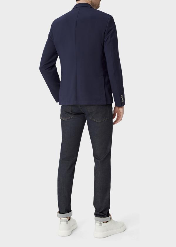 Blazer Slim en laine mélangée unie bleu indigo - Father and Sons 39998