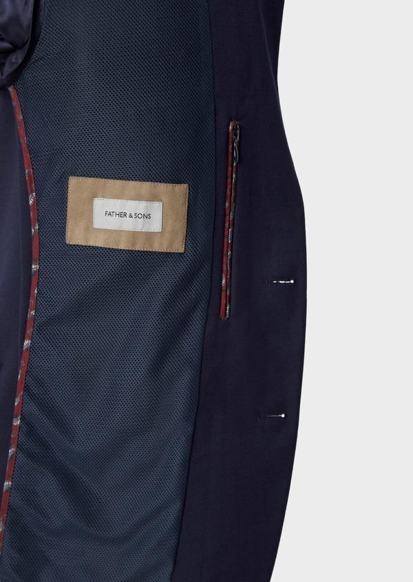 Blazer Slim en laine mélangée unie bleu indigo - Father and Sons 40001