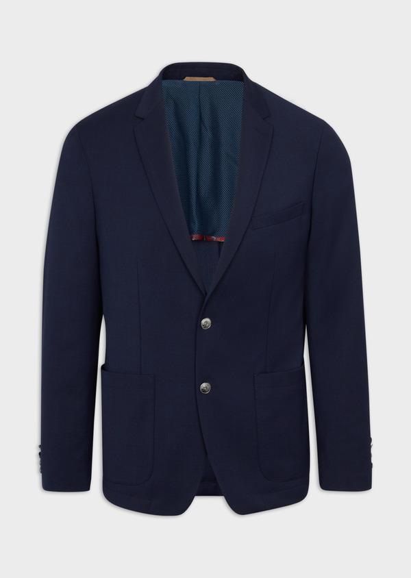 Blazer Slim en laine mélangée unie bleu indigo - Father and Sons 39995