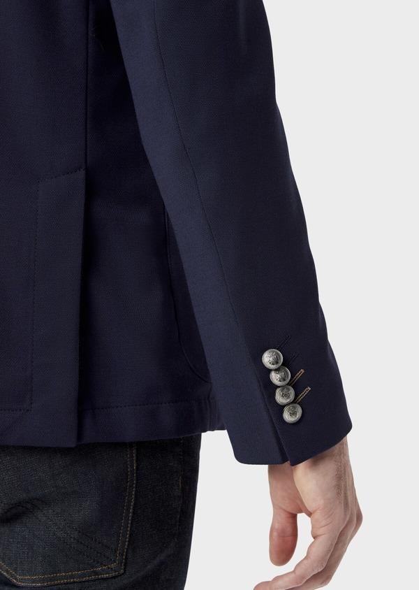 Blazer Slim en laine mélangée unie bleu indigo - Father and Sons 40000