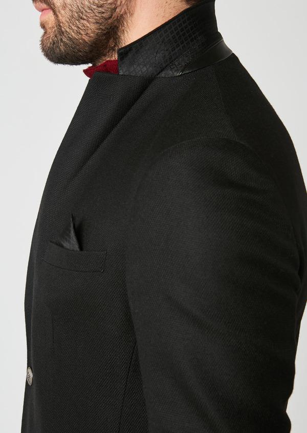 Blazer Slim en laine natée uni noir - Father and Sons 27443
