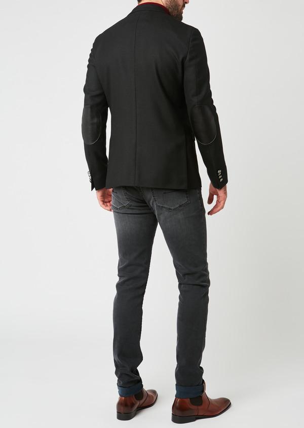 Blazer Slim en laine natée uni noir - Father and Sons 27442