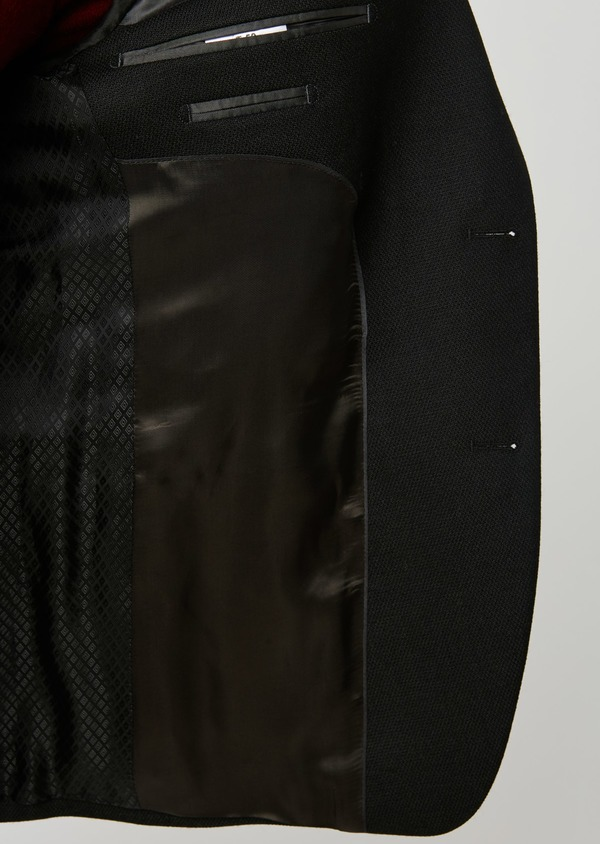 Blazer Slim en laine natée uni noir - Father and Sons 27445