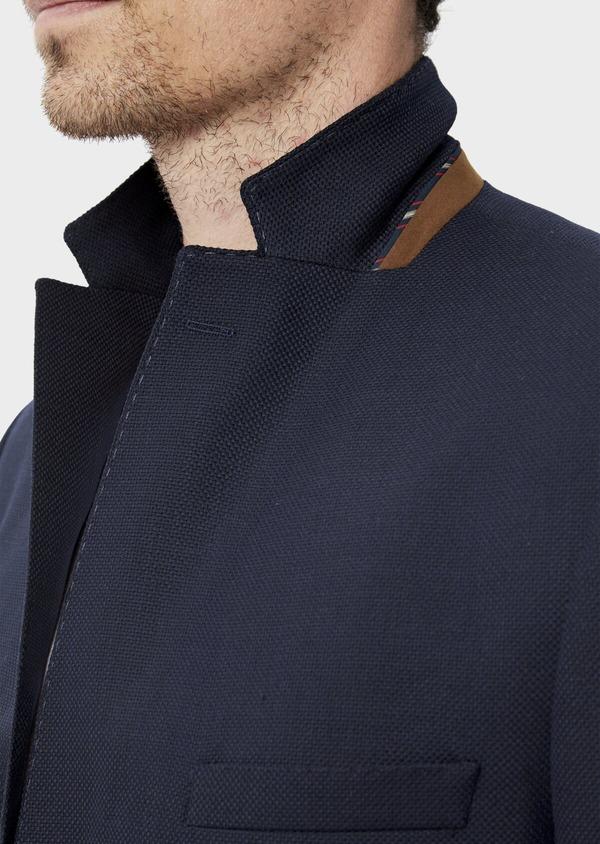 Blazer Slim en laine mélangée unie bleu marine - Father and Sons 34484