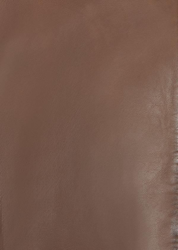 Blouson Biker en cuir uni marron - Father and Sons 38509
