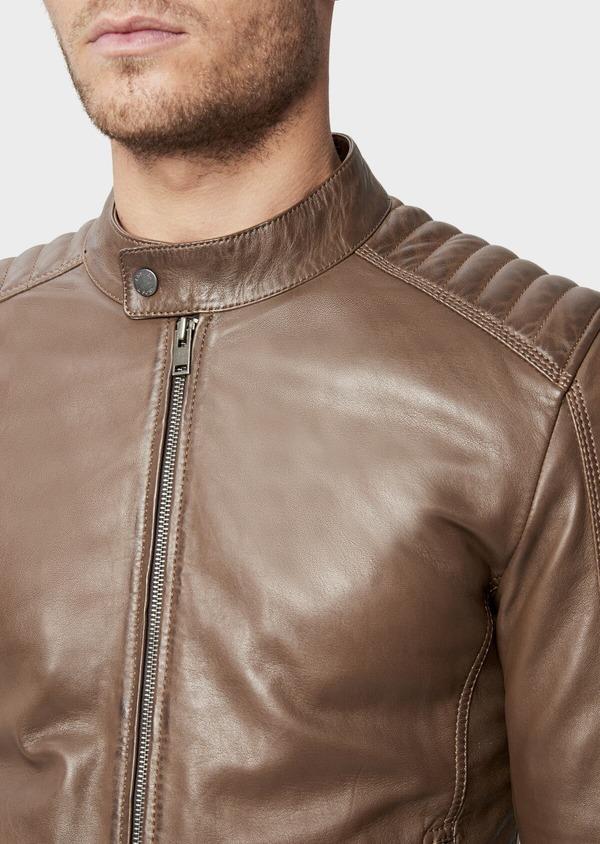 Blouson Biker en cuir uni marron - Father and Sons 38512