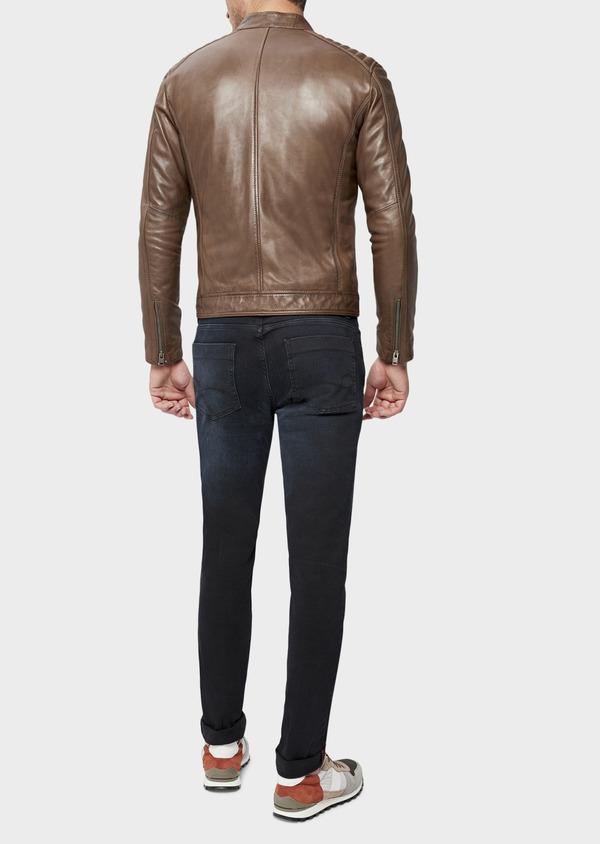 Blouson Biker en cuir uni marron - Father and Sons 38511
