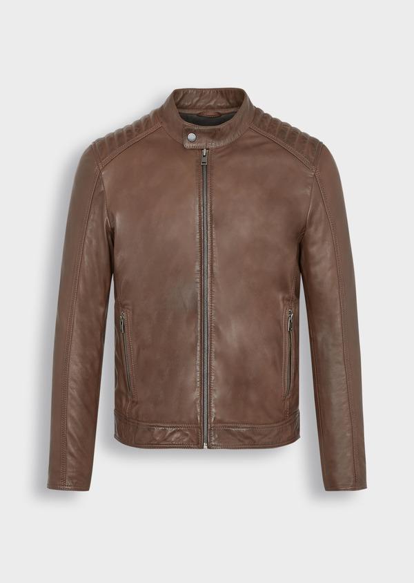 Blouson Biker en cuir uni marron - Father and Sons 38508